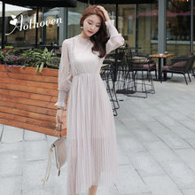 2019 Spring Dress O-Neck Long Sleeves See Through Gauze Lace Diamonds Women Dress Office Lady Sexy Party Vintage Bandage Dresses(China)