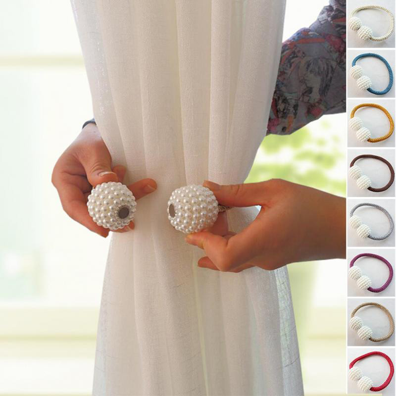 Pearl Magnetic Balls Curtain Clip Holders Tieback rod Buckle Clips Hanging Tie Back home decoration Accessories