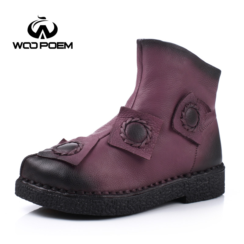 ФОТО WooPoem Autumn Winter Shoes Women Breathable Cow Leather Boots Low Heel Ankle Boots Fashion Flower Classic Women Boots 1029