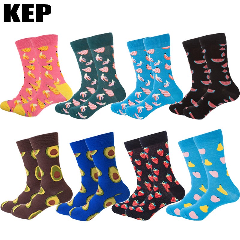 KEP New Fashion Trend Combed Cotton Men Socks Funny Happy Socks Watermelon Avocado Fruit Socks Male Creativity DIY Socks Gift