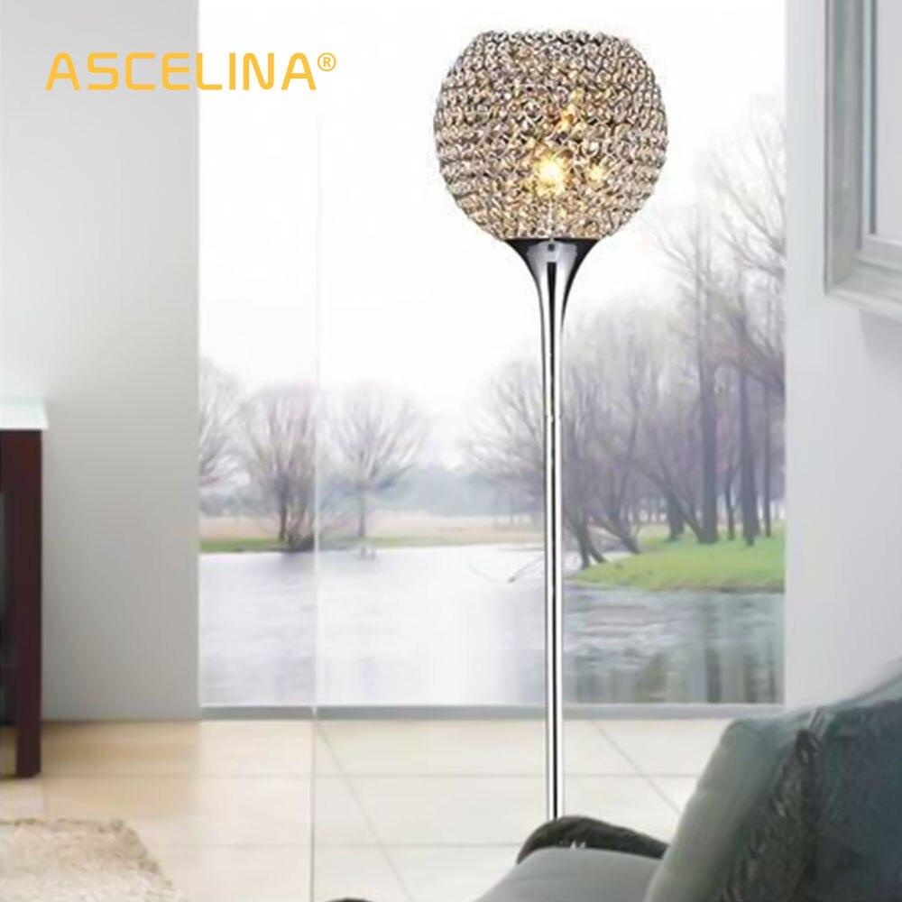 Lampa podłogowa kryształowa lampa podłogowa nowoczesna podłoga światło LED E27 oświetlenie tułowia 1.6m wysoki salon sypialnia dekoracja gabinetu światło