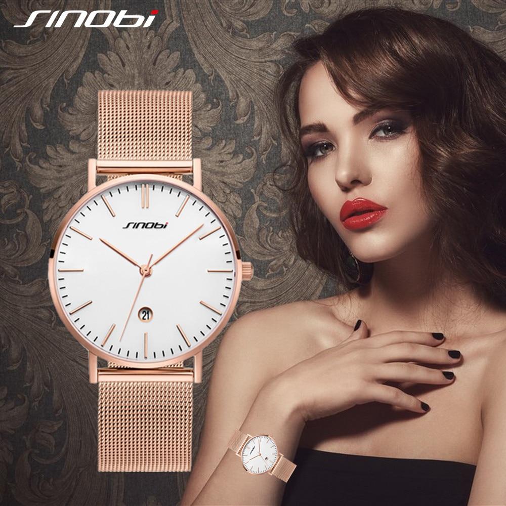 SINOBI Fashion Women's Quartz Wrist Watches Gold Watchband Top Luxury Brand Girl Crystal Clock Ladies Watch Female Reloj Mujer