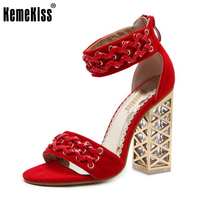 KemeKiss National Style Women High Heel Sandals Square Heel Shoes Women Ankle Strap Summer Shoes Party