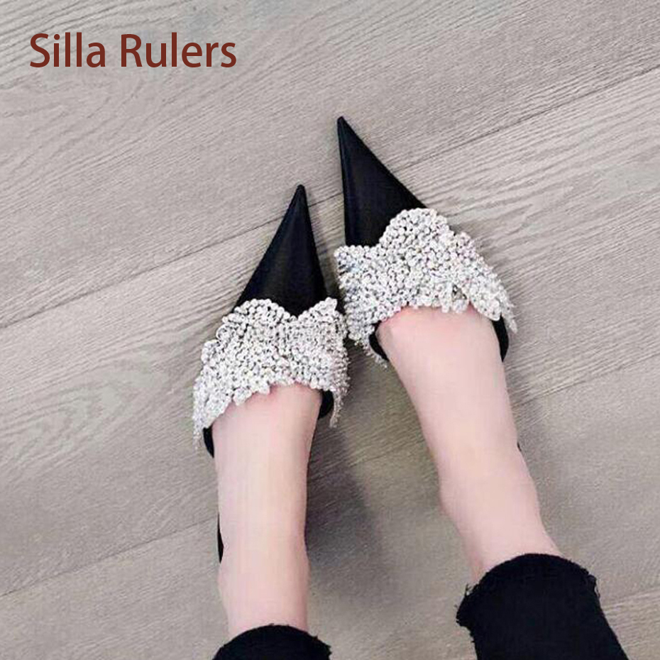Silla Rulers Super Hot Lady Sexy Slipper Black Rose Red White Bling Diamond Pointed  Toe Satin Nice Flip Flop Luxury Wedding Shoe a276499a035d