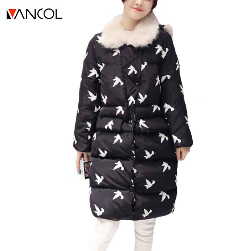 ФОТО Vancol 2016 Warm Thick Cotton Down Black Long Winter Coat Women Fashion Birds Embroidery Blue Womens Winter Jackets And Coats