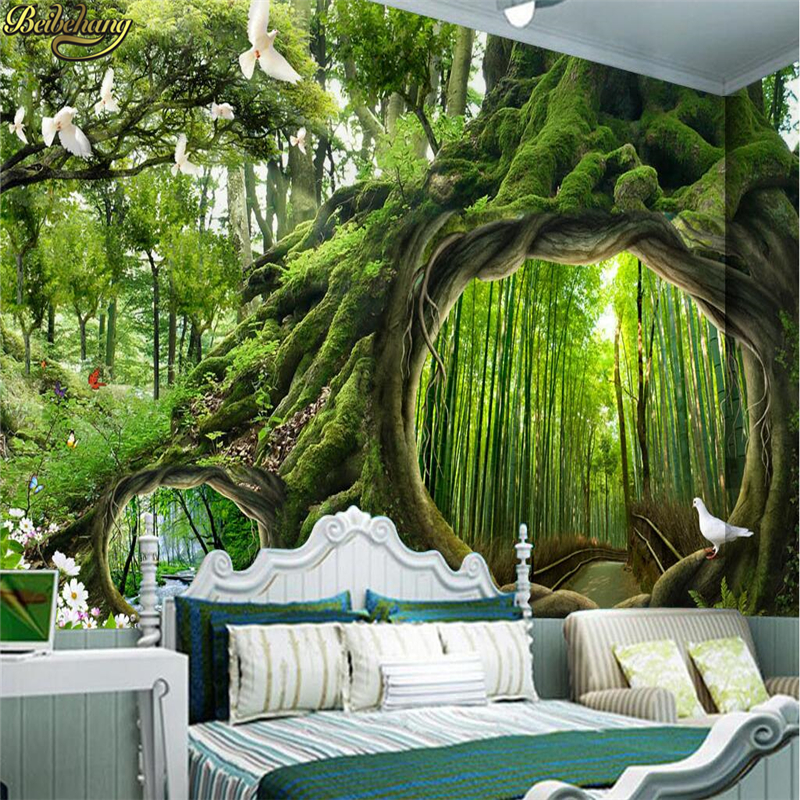 beibehang Custom Photo Wallpaper Mural Wall Stickers Magic Forest Cafe Kids Room Backdrop Wall papel de parede beibehang custom wallpaper giant mural painting super aesthetical dream forest moonlight whole house wall murals papel de parede