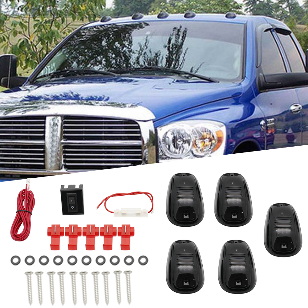 5pcs Black Smoked Lens Red LED Cab Roof Marker Running Lights For Truck SUV 4x4