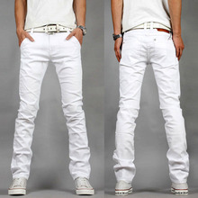 2017 Four Seasons New Fashion Slim Fit Men s Pure White Jeans Boy Hole Ripped Current