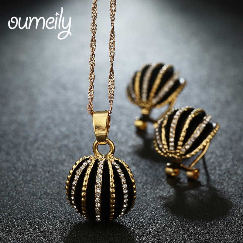 OUMEILY Necklaces Earrings For Women Wedding Jewelry Sets Gold Color Party Gift Accessories African Beads Bridal Pendant