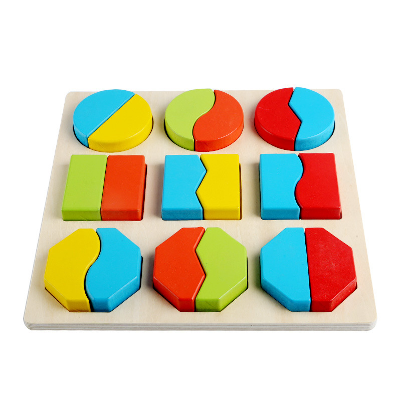 Free Shipping Baby Wooden Montessori Teaching Aids Puzzle Toy, Children Early Education Puzzle, Kids Geometric Shape Puzzle Toy
