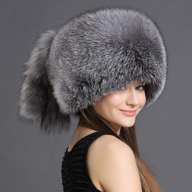 Hot Sale Real Fox Fur Hat for women winter Fox fur beanies cap with fox fur 2016 Solid New thick female cap Bomber Hats