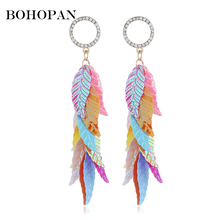 2018 New Design Shiny Sequin Earrings Feather Shape Acrylic Long Tassel Crystal Drop Earrings Summer Jewelry Girl Bijoux dreamcatcher design feather drop earrings