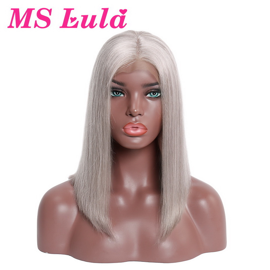 MS Lula Grey Color Brazilian Short Lace Front Straight Wigs Bob Wigs Medium Size Middle Part 100% Remy Human Hair Free Shipping