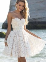 Women Ladies Lace White Strapless Sexy Slim Fit And Flare High Waist Pleated Holiday Boho Summer
