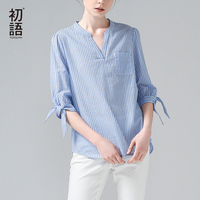 Toyouth 2017 Summer New Arrival Women Striped Blouses Half Sleeve All Match Cotton Shirts