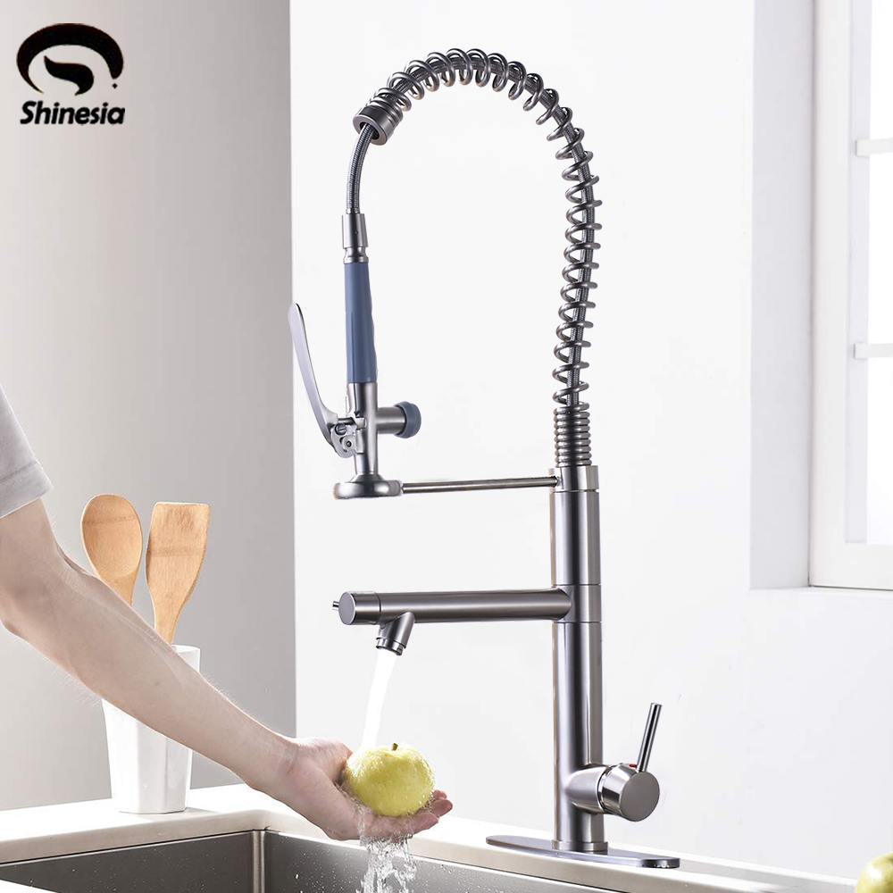 Brushed Nickle High Spring Kitchen Sink Faucet Single Lever Swivel Dual Spout High Pressure Mixer Tap