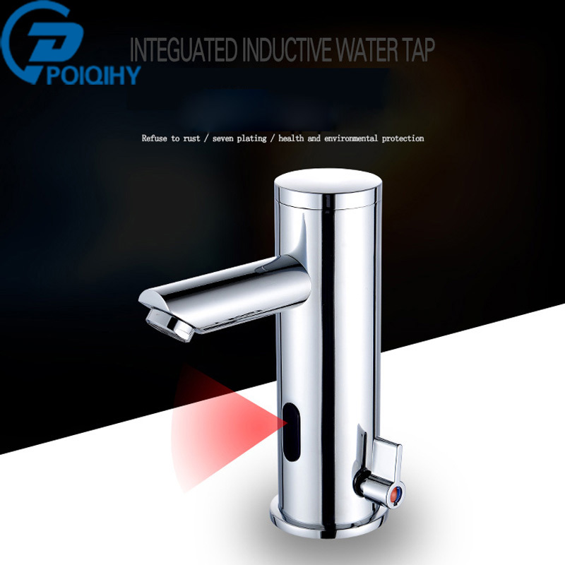 все цены на Bathroom Faucet Sensor Faucet Automatic Inflrared Sensor Hand Touch Tap Hot Cold Mixer Chrome Polished Sink Mixer