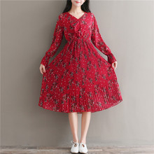 Mori Girl Sweet Dress 2018 New Spring Women Party Dress Flounce Embellished Tied V Neck Dress Floral Print Long Chiffon Dresses
