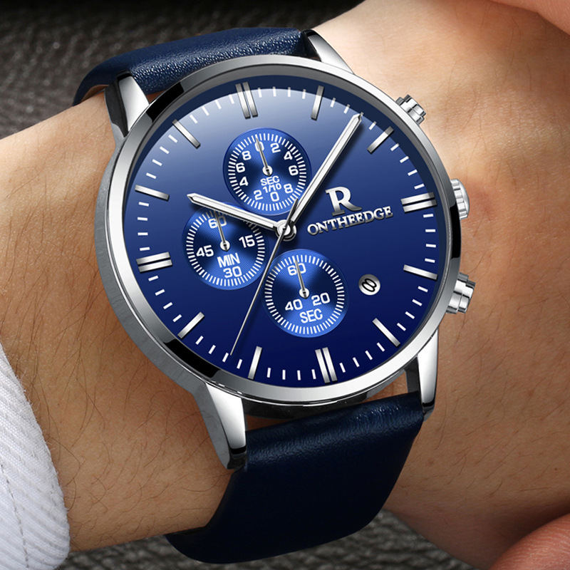 Zegarki New Fashion Design Men Calender Business Quartz Watch Men Casual blue Genuine Leather Waterproof watch Hot Sale Chasy mike 8831 men s business casual quartz watch silver blue