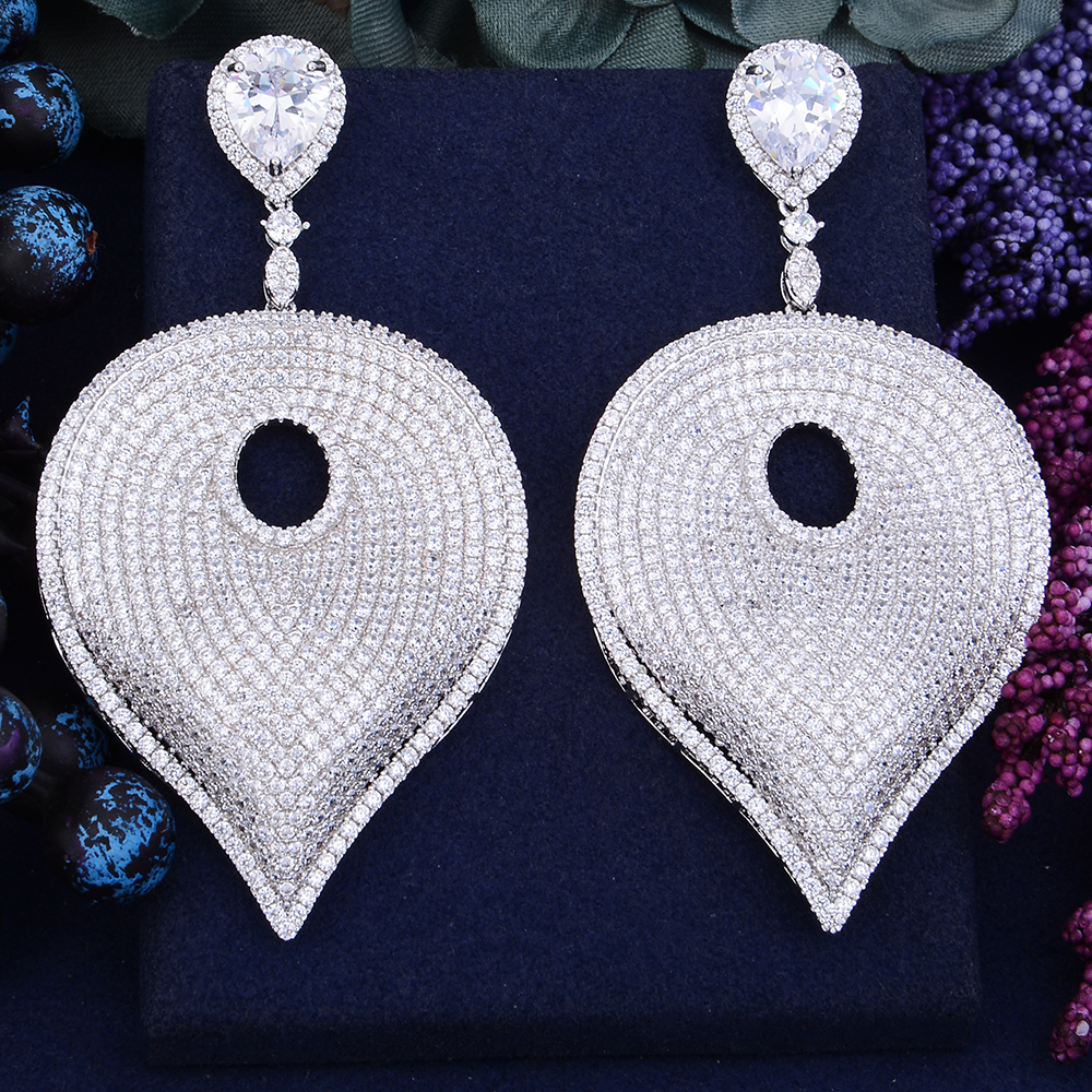 GODKI 81mm Exclusive Super Luxury Leaf Leaves Full Mirco Paved Cubic ZirconCZ  Naija Wedding Drop Earring Fashion Jewelry