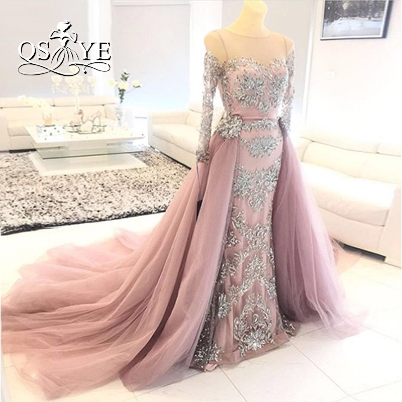 5a75ede544c Vestido de festa Pink Vintage Evening Dresses 2017 Real Picture Silver Lace  Beaded Removable Tulle Skirt Long Prom Dress