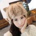 Presente da Mulher genuine mink fur hat inverno linda orelha de gato gorro chapéus bonés 2017 nova marca de inverno chapéus de pele de coelho para as mulheres meninas