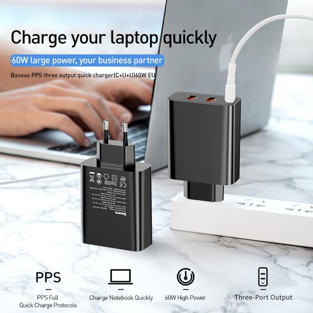 Baseus 3 porty USB ładowarka z PD3 0 szybka ładowarka do telefonu iPhone 11 Pro Max Xr 60W szybkie ładowanie 4 0 FCP SCP dla Redmi Note 7 Huawei tanie i dobre opinie Typ C Baseus Quick Charge 4 0 USB Charger USB PD Podróży Ac Źródło 100-240 V 1 2A RoHS AC 100-240V 50-60Hz 1 3A Max
