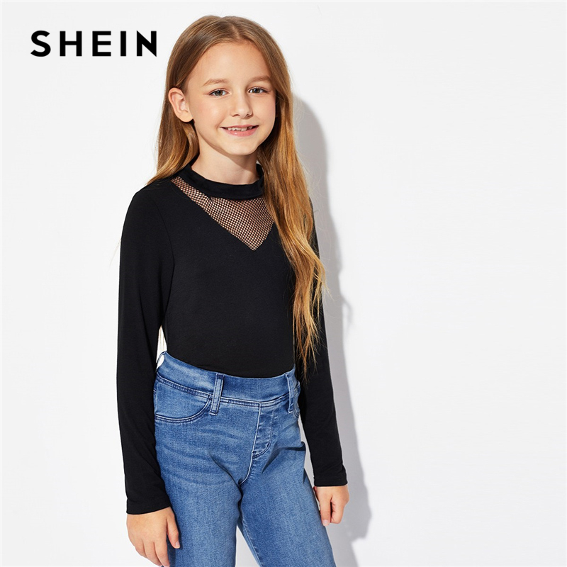 SHEIN Kiddie Black Mesh Insert Solid Long Sleeve Elegant Kids T-Shirt Girls Tops 2019 Spring Casual Kids Girls Shirts Tee shein kiddie white cartoon print casual t shirt toddler girl tops 2019 spring fashion short sleeve girls shirts kids tee