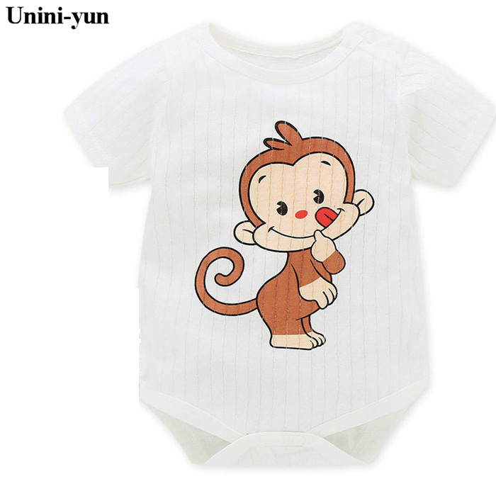 2017 Baby Romper Girl and Boy Short Sleeve Monkey Print Summer Clothing for Newborn Jumpsuits & Rompers Infant clothes 3M