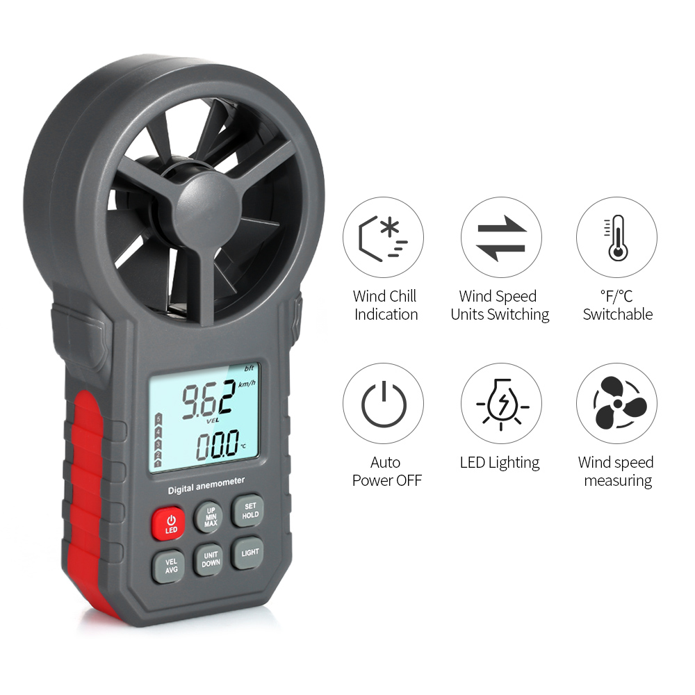 Digital Anemometer as Wind Speed Meter with Flashlight for Air Velocity and Air Temperature Test 1