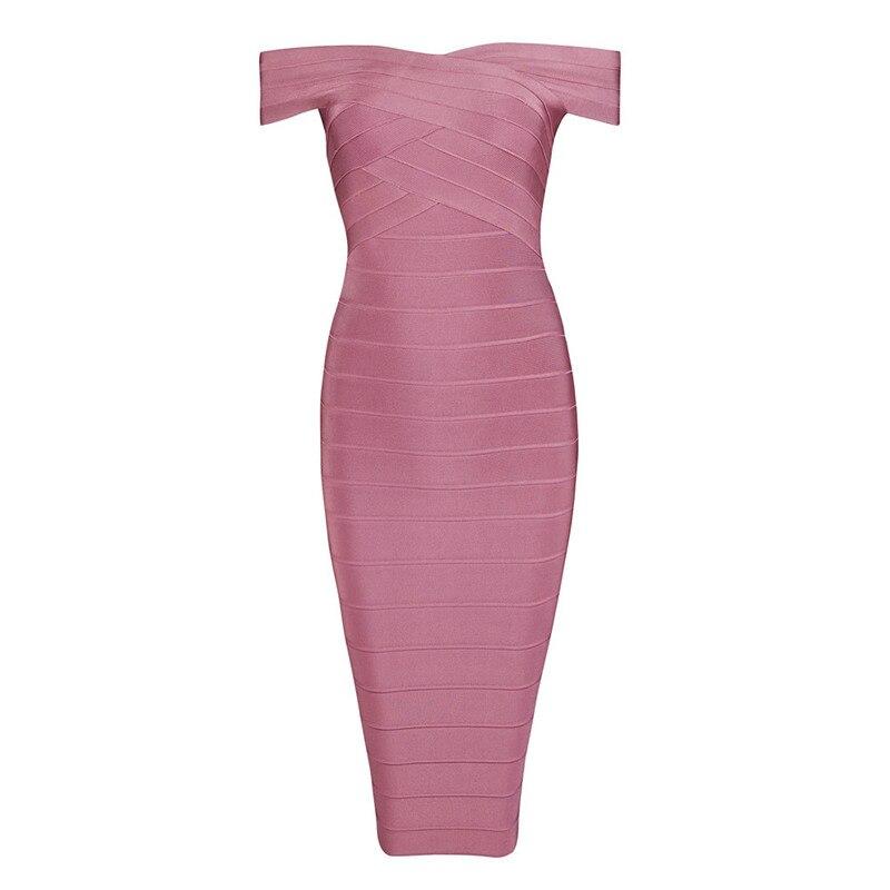 INDRESSME Sexy épaule dénudée femmes Bandage robe élégante Slash cou genou longueur moulante dos nu robe de soirée Vestidos 2019 nouveau - 6