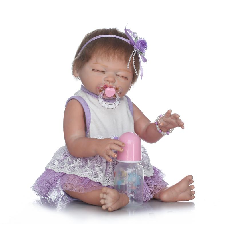 New Designed 50cm Sleeping Full Body Silicone Reborn Babies 20 inch Girl Doll Baby Born Princess Dressed Toys For Girls Gifts