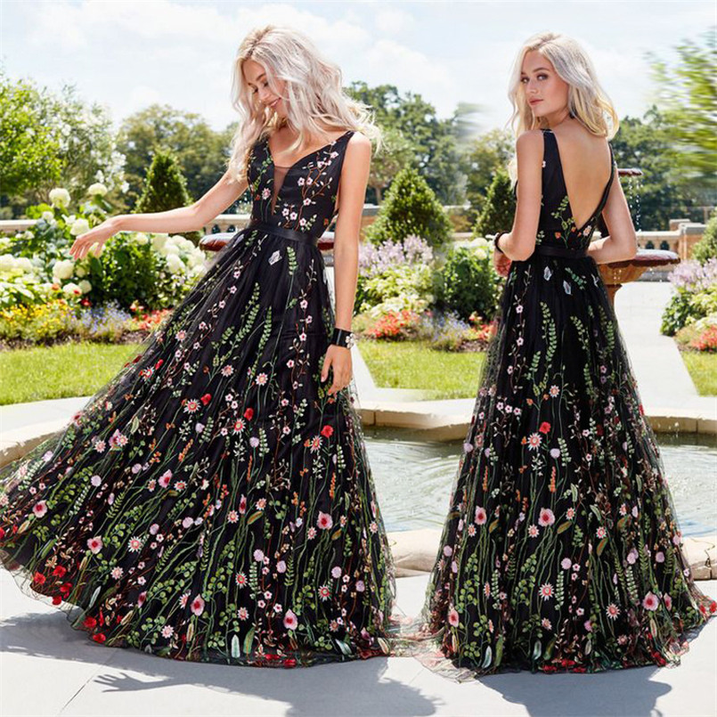 Vestidos De Festa Longo Plus Size Sleeveless A Line   Prom     Dress   Embroidery Tulle Bohemian   Dress   Elegant Long Black Party   Dress