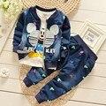 Chaqueta de invierno niño de manga larga de mezclilla de algodón establece Mickey de $ number piezas de ropa para niños 1-4 T del bebé capa de la rebeca traje