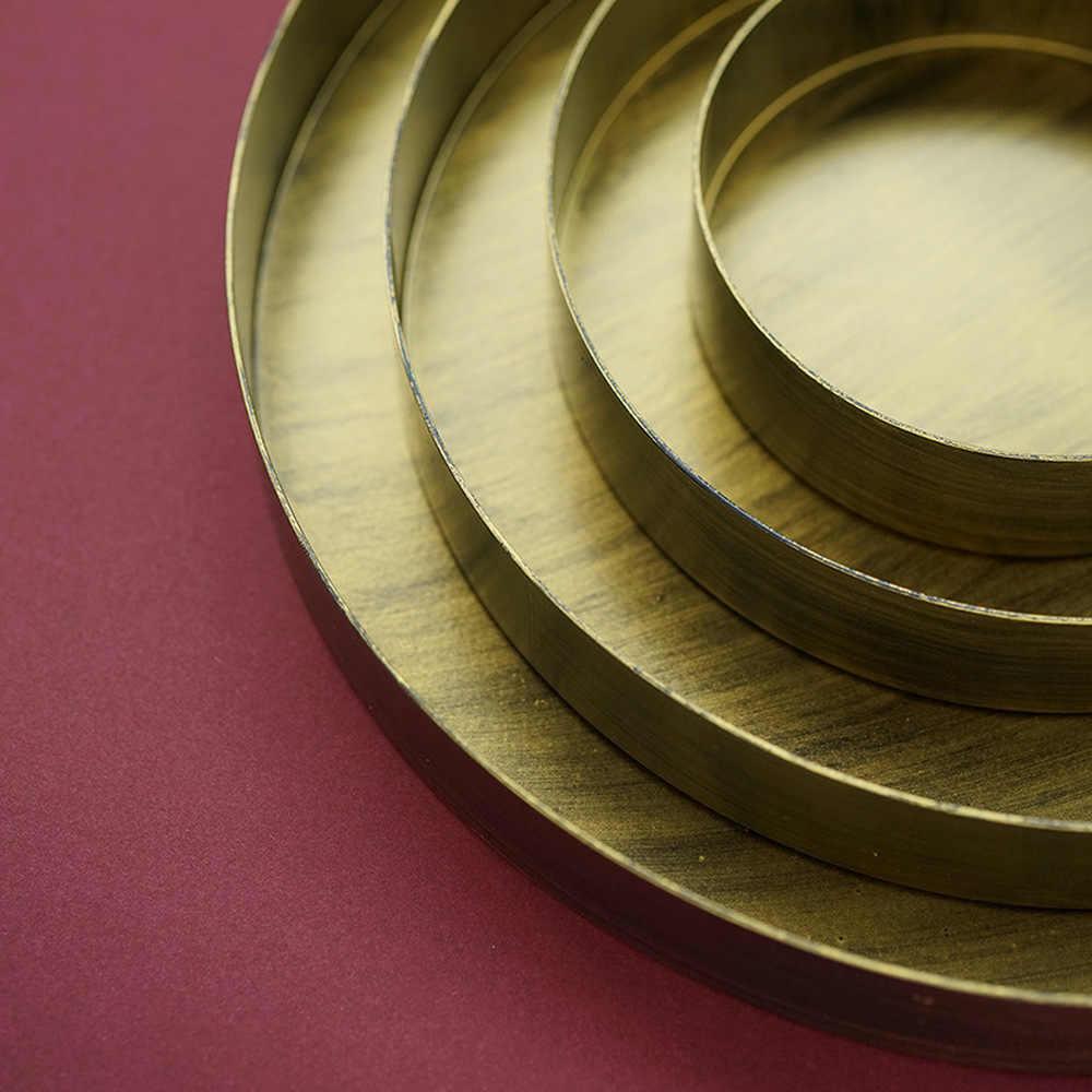 Bandeja de Metal do Ouro do vintage Placa Redonda De Ferro Clássico Old Bronze Prato Lanche Prato de Decoração Fotografia Adereços