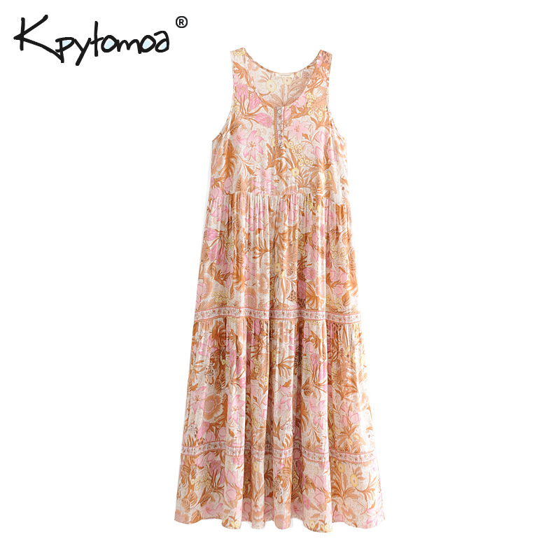 626822f599038 Hot Sale] TEELYNN maxi Boho dress 2018 autumn rayon floral print ...