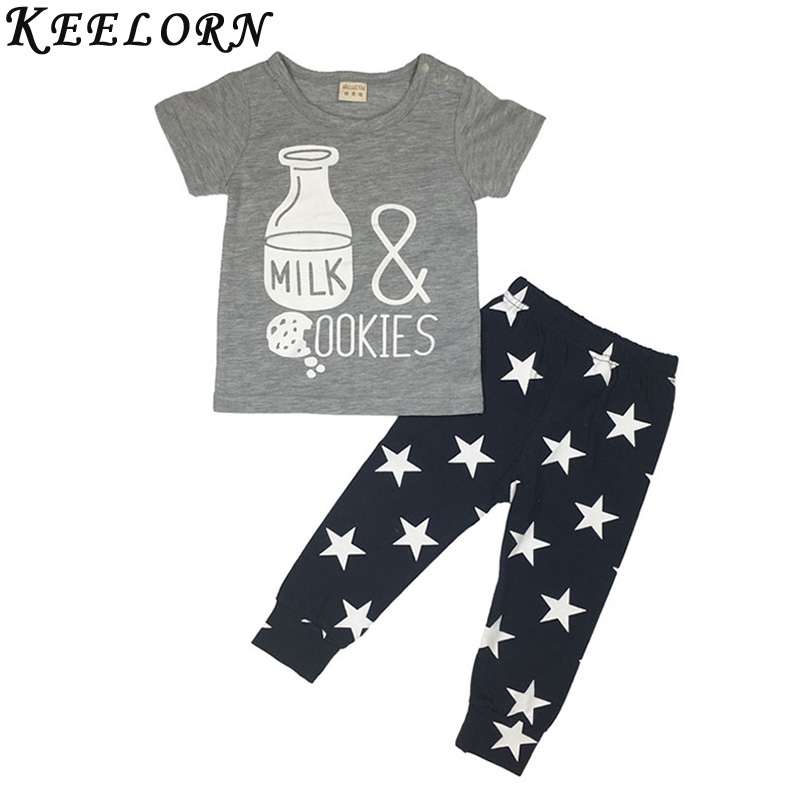 Keelorn 2018 summer fashion baby boy clothes cotton baby girl clothing set cartoon printed t-shirt+pants newborn infant 2pcs set 2pcs children outfit clothes kids baby girl off shoulder cotton ruffled sleeve tops striped t shirt blue denim jeans sunsuit set