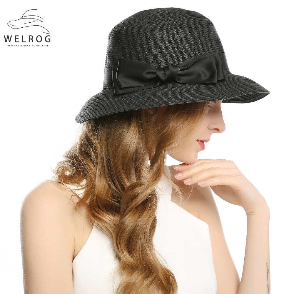 c1901b5903b WELROG Women s Summer Small Brim Beach Hats Sexy Chapeau Ribbon Bow Knot  Floppy Sun Caps New Spring Black Church Hats Caps-in Fedoras from Apparel  ...