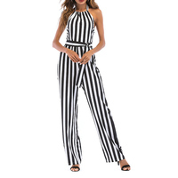 Hot Women Sexy Striped Summer Jumpsuit Halter Off Shoulder Backless Rompers Wide Leg Playsuit Overalls CGU 88