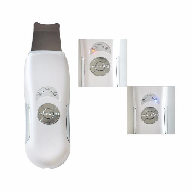 2 unids sonic cara piel limpiador ultrasónico scrubber facial pore apriete dispositivo de terapia de ultrasonido pala de la máquina para el cuidado de la piel