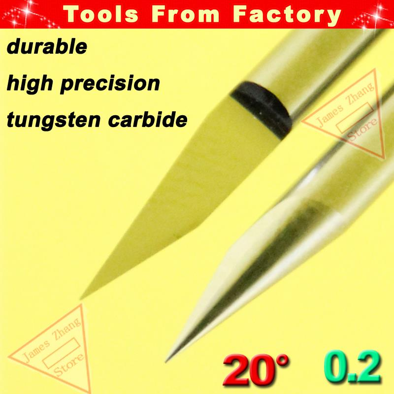 Free Shipping 10pcs 20 Degree 0.2mm Carbide PCB CNC Engraving Machine Router V Bits # J3.2002