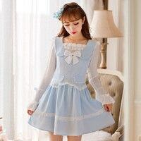 Princess sweet lolita dress Candy rain Autumn sweet princess bow col Claudine flare sleeve chiffon dress C16CD6144