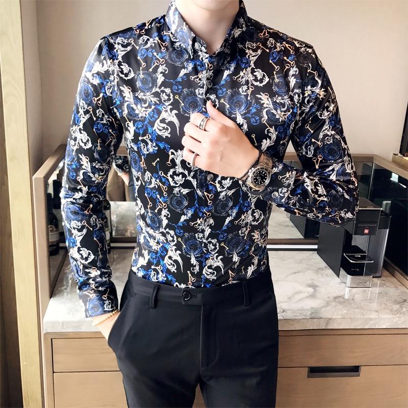 2017 Luxury British Style Shirts Mens Flowers Shirts Royal Baroque Shirts Vintage Social Club Outfits Fancy Camisa Slim fit