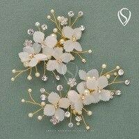 SWEETV 2PCS Pearl Rhinestone Hair Clips Hairpin Bridesmaid Bride Flower Barrette Hair Comb Wedding Hair Accessories