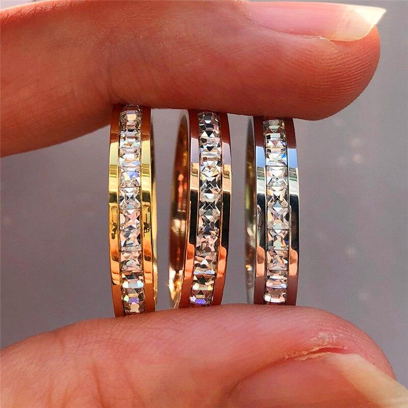 Boho Female Crystal CZ Stone Ring Vintage Stainless Steel Women Wedding Rings Fashion Promise Yellow Gold Engagement Ring