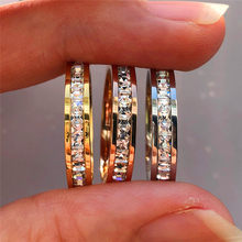 Boho Female Crystal CZ Stone Ring Vintage Stainless Steel Women Wedding Rings Fashion Promise Yellow Gold Engagement Ring(China)