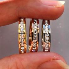 Anillo de piedra de circonia cúbica de cristal bohemio para mujer, anillos de boda Vintage de acero inoxidable, anillo de compromiso de oro amarillo a la moda