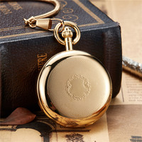 Unique Golden Luxury Copper Self wind Pocket Watch Men Women With FOB Chain Hollow Skeleton Steampunk Mechanical Watches Gifts