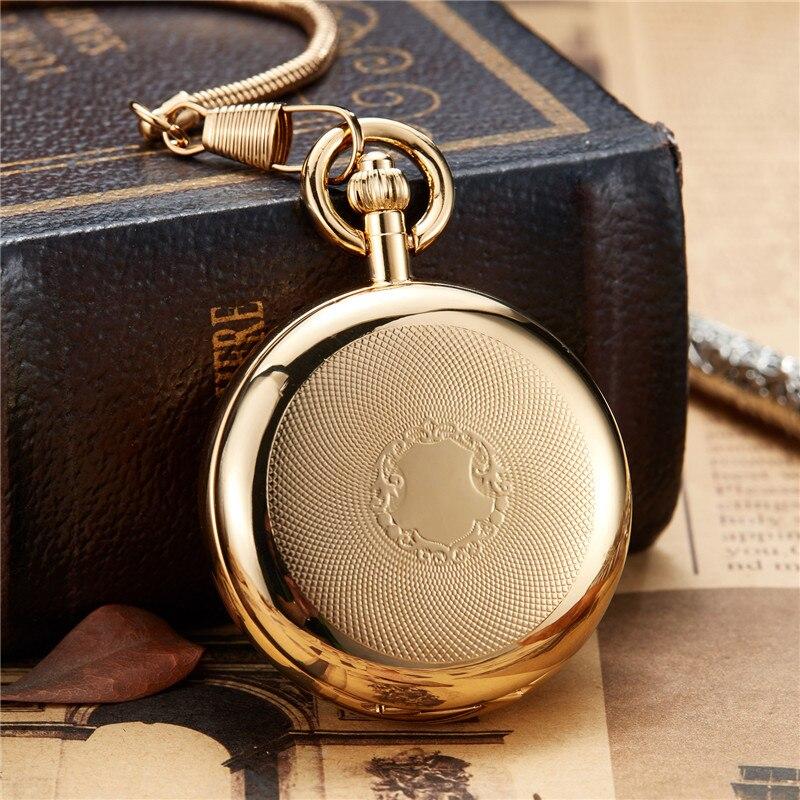 Original de Ouro de Cobre de Luxo Relógio de Bolso para Mulheres dos Homens com Cadeia Auto-vento Esqueleto Steampunk Relógios Mecânicos Presentes Fob Oco