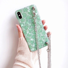 love strap tpu case for iphone 7 8 6s 6 plus XR X XS MAX cover glitter foil shoulder chain lanyard soft silicon phone bag